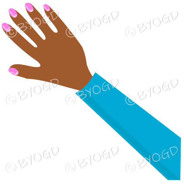 Nail clipart female hand. With light blue sleeve
