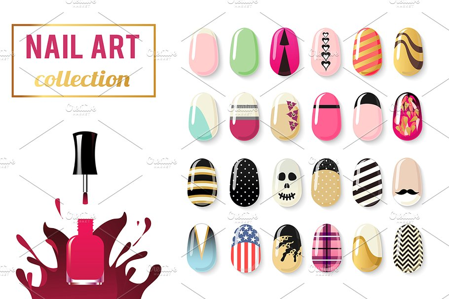 Nail clipart nail art design. Vector collection graphic objects