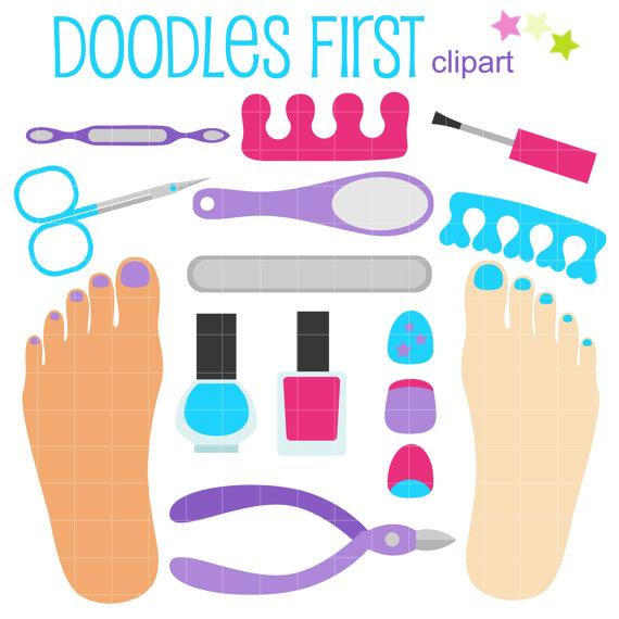 Nails clipart nail file. Pedicure set digital clip