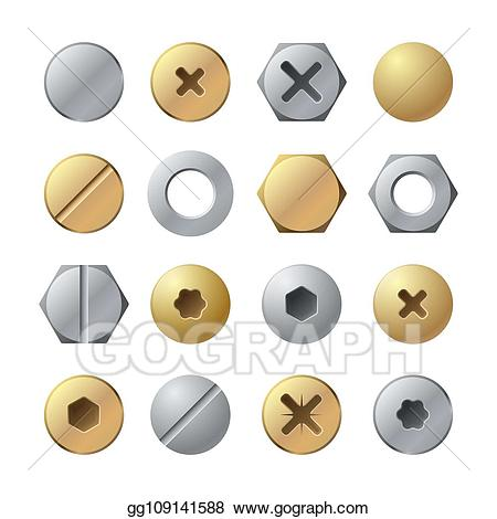 Eps illustration bolt heads. Nail clipart screw top