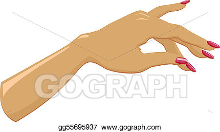 Vector art female with. Nails clipart lady hand