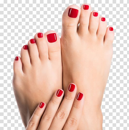 Red manicure and gel. Nails clipart pedicure
