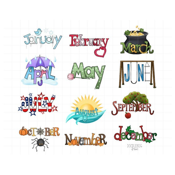 Planner clipart monthly planner. Month name digital stickers