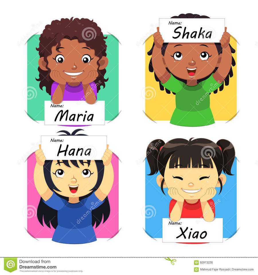 Name clipart cartoon. Download children with their