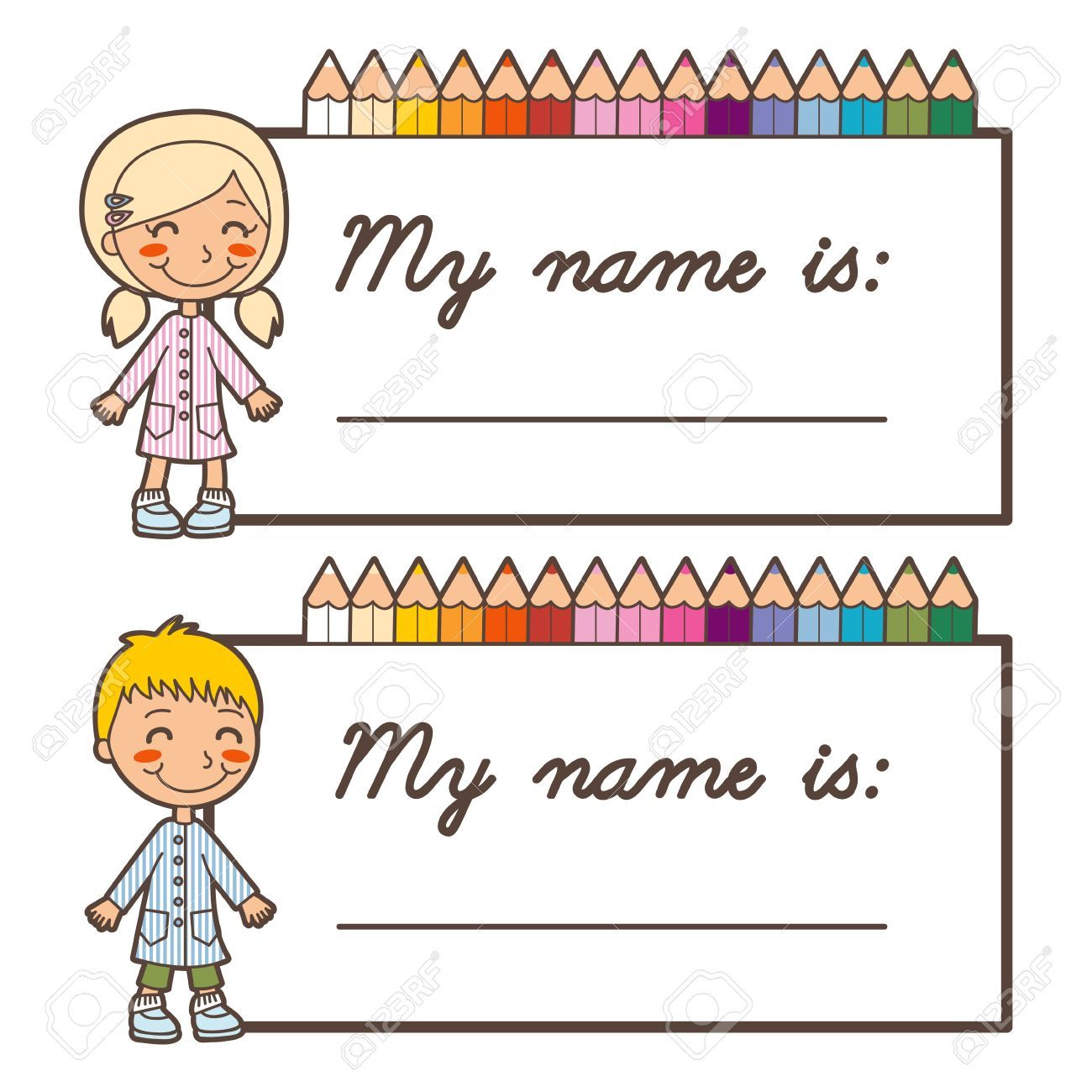 Stock vector elise tags. Name clipart student