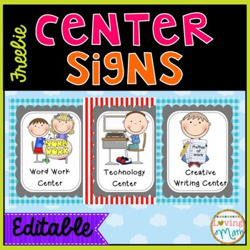 Writer clipart word work center. Huge freebie signs editable