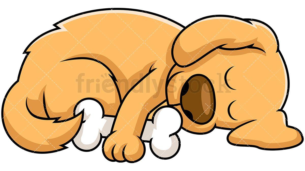 Dog sleeping while hugging. Nap clipart cartoon