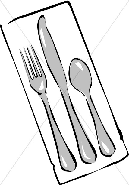Cutlery on church food. Napkin clipart