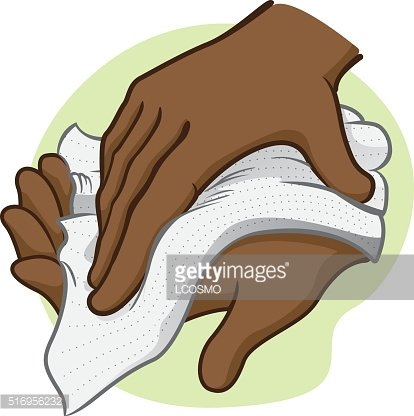 Napkin clipart dry hand. Person wiping his hands