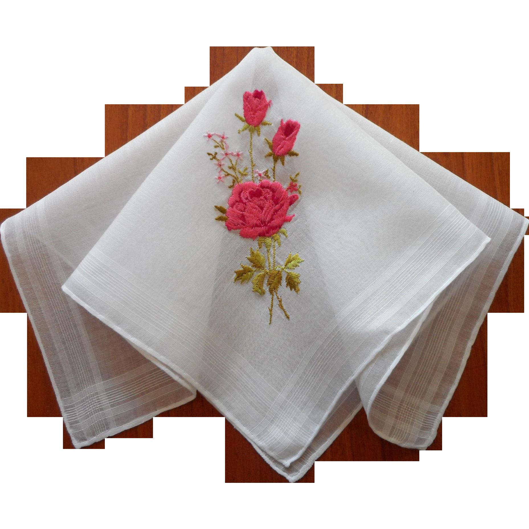 Vintage hankie pink roses. Napkin clipart handkerchief