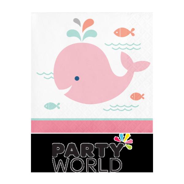 Lil spout whale beverage. Napkin clipart pink