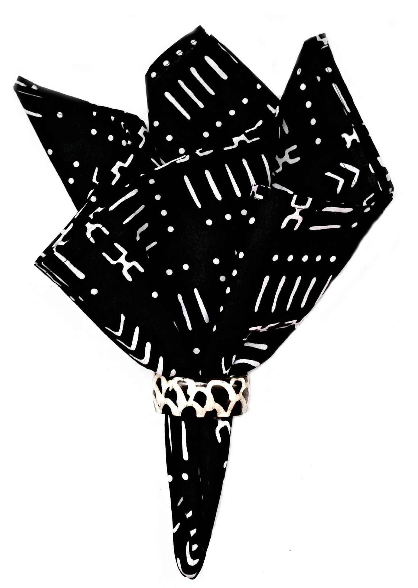 Black mud cloth print. Napkin clipart white fabric