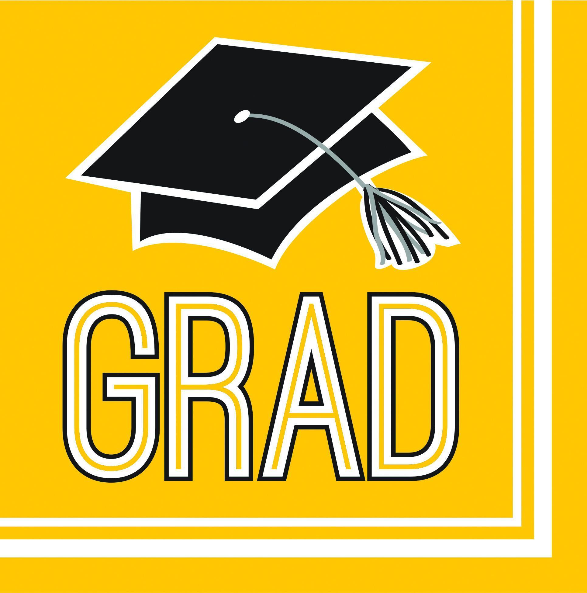 Congrats grad beverage case. Napkin clipart yellow