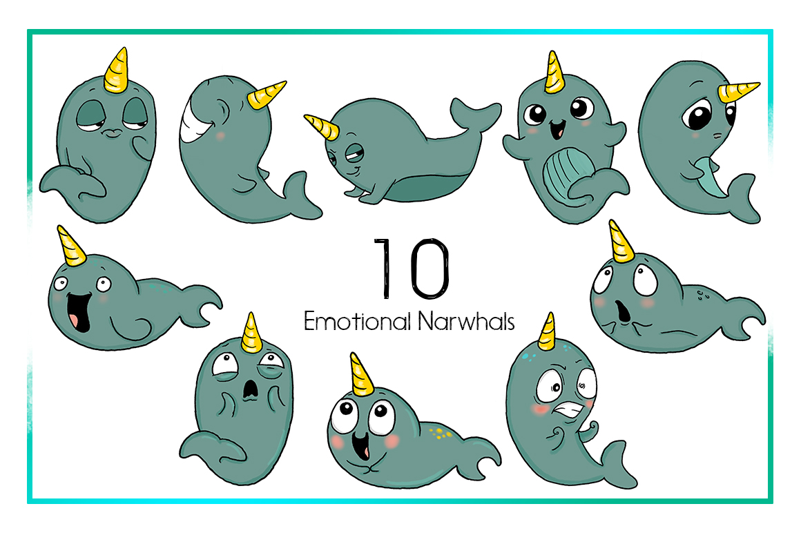 Nautical sea cartoon sticker. Narwhal clipart
