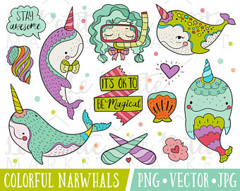 Etsy illustration set cute. Narwhal clipart