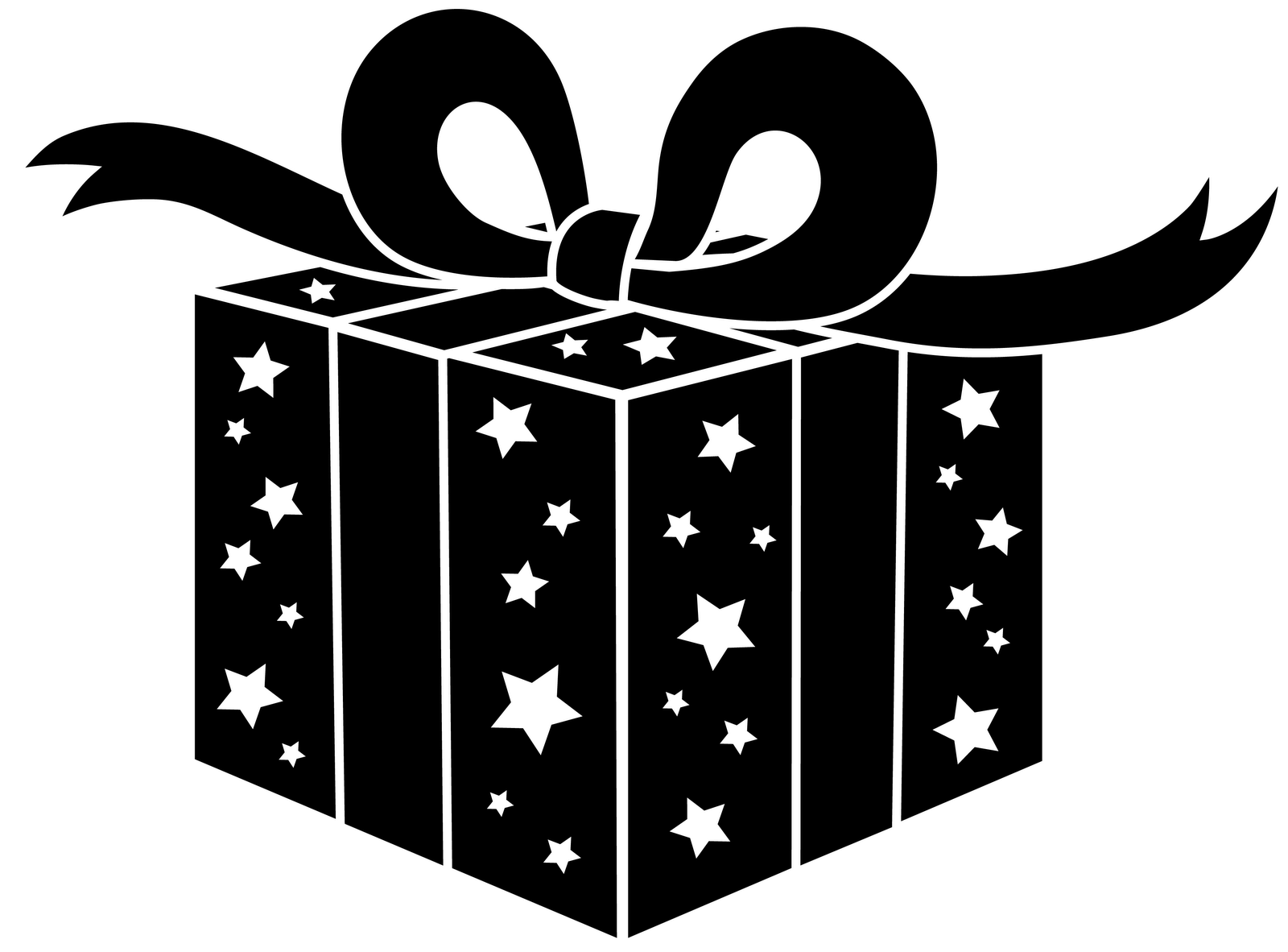 Silhouette christmas package clipground. Narwhal clipart black and white