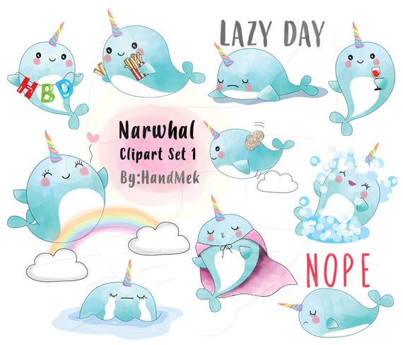Set instant download png. Narwhal clipart blue