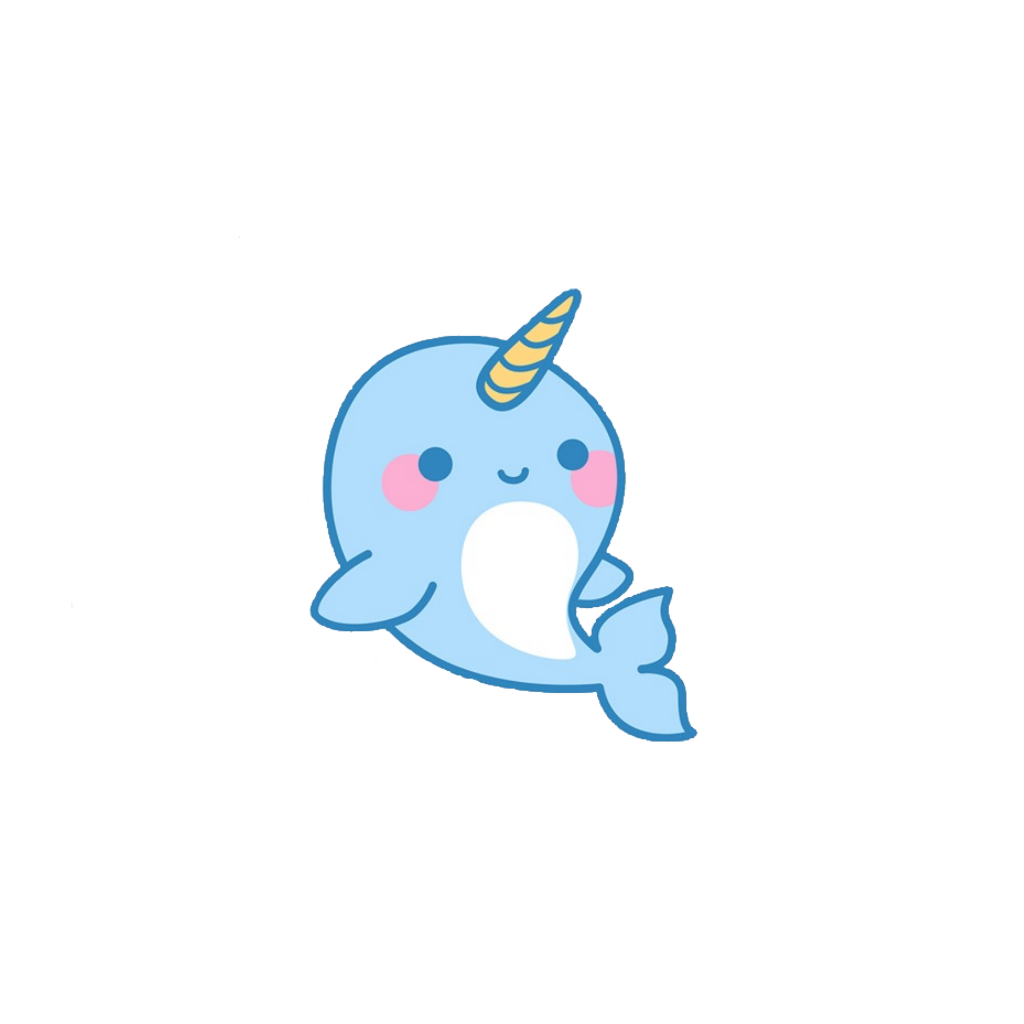 Narwhal clipart blue. Cute sticker by