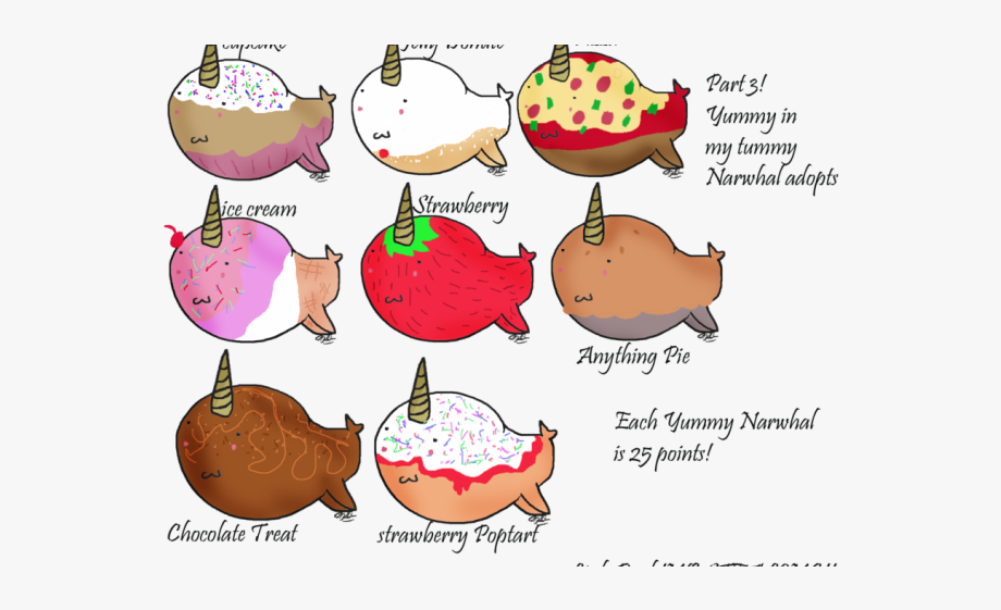 Chibi narwhals free . Narwhal clipart chocolate