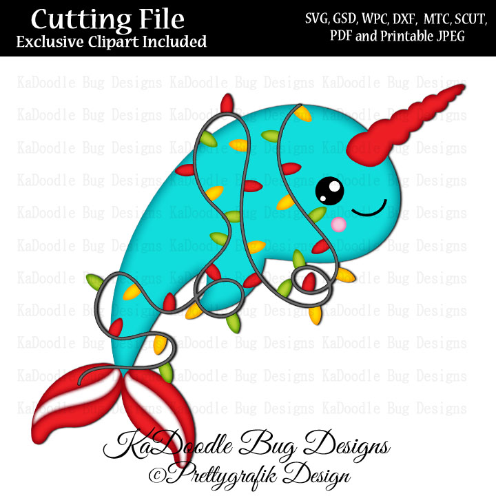 Pg lights svg cut. Narwhal clipart christmas