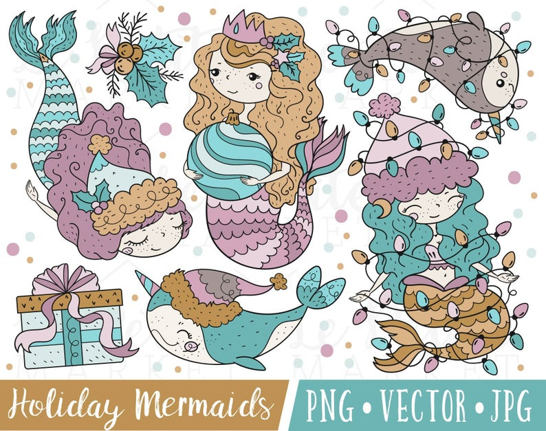 Cute mermaid images holiday. Narwhal clipart christmas