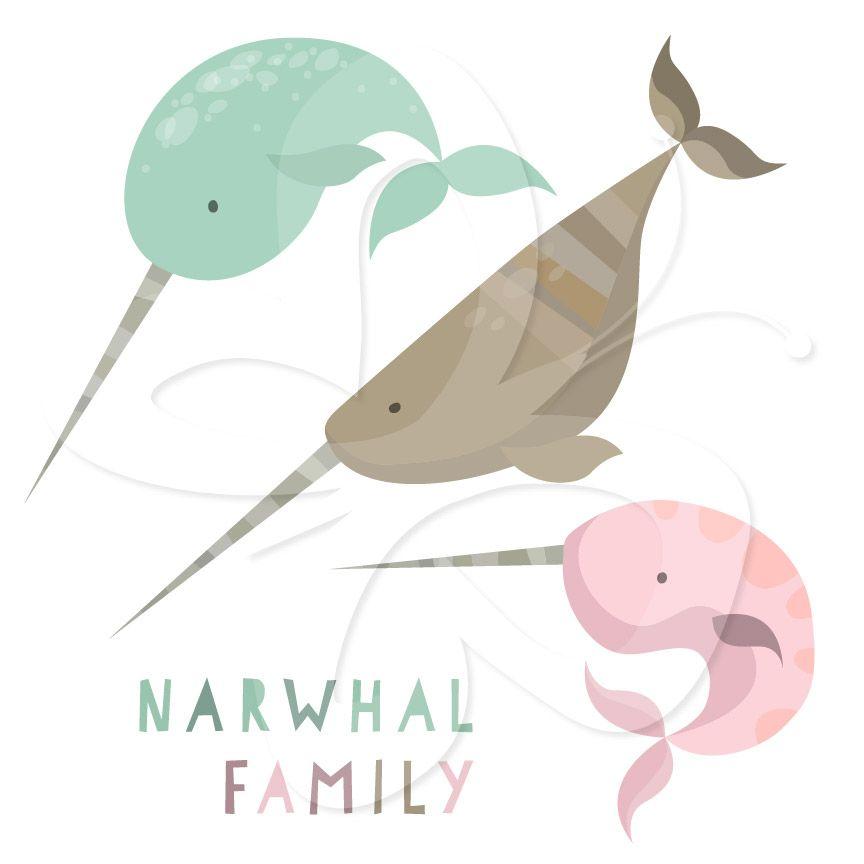 Cute i love in. Narwhal clipart cut
