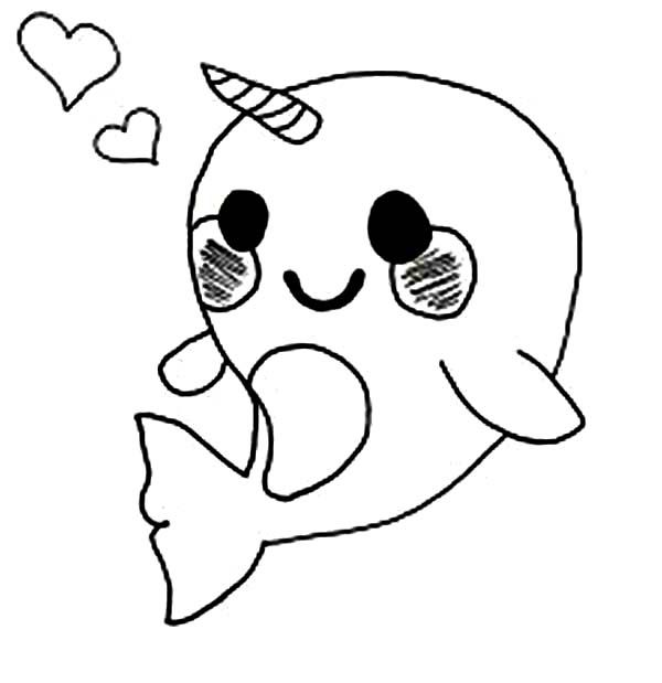 Narwhal clipart cute coloring page. Baby pages kiarah s