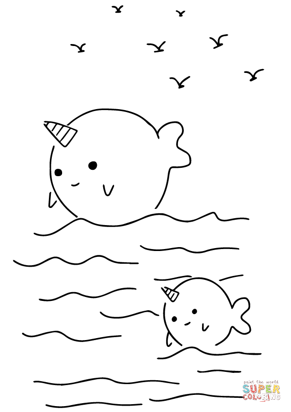 Kawaii narwhals free printable. Narwhal clipart cute coloring page