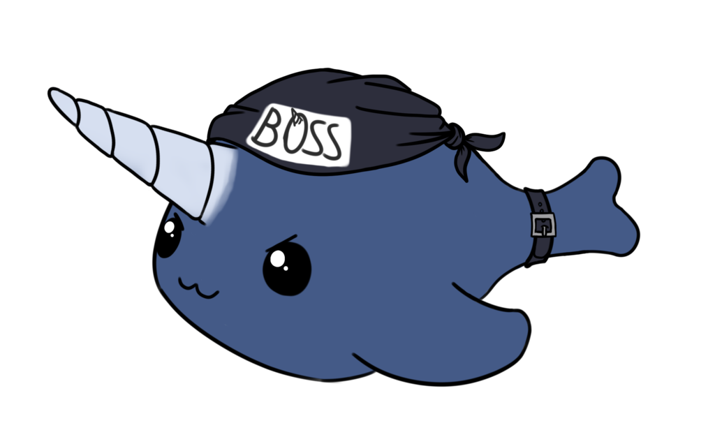 Leader of biker gang. Narwhal clipart drawing