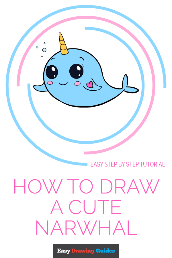 Narwhal clipart easy draw. How to a cute