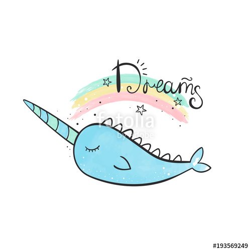 Narwhal clipart horn. Magic a whale with