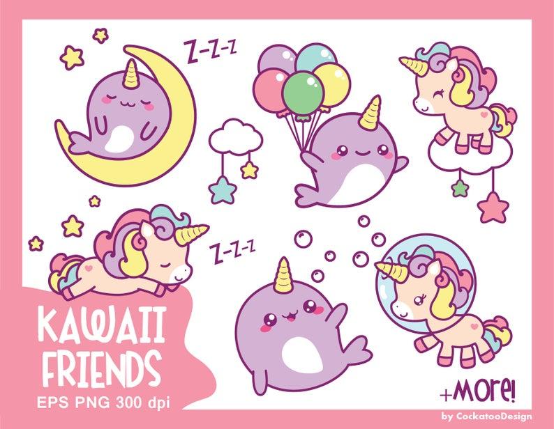 Narwhal clipart kawaii. Unicorn cute clip art