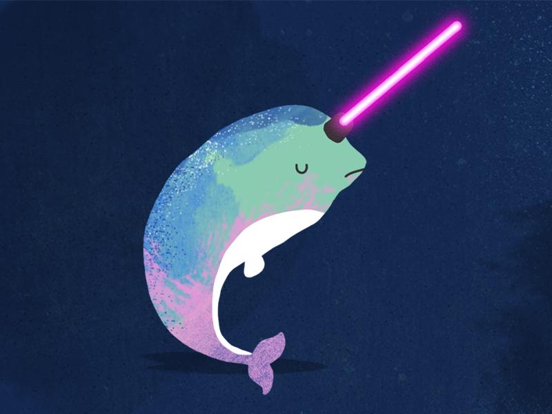 Star wars poppy in. Narwhal clipart lightsaber