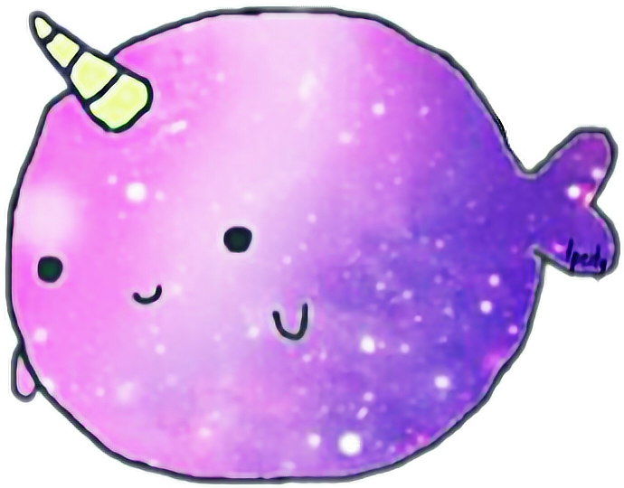 Narwhal clipart purple. Cute kawaii