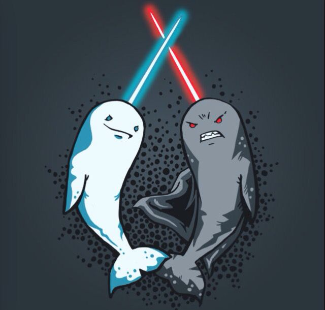 Real forever young design. Narwhal clipart star wars