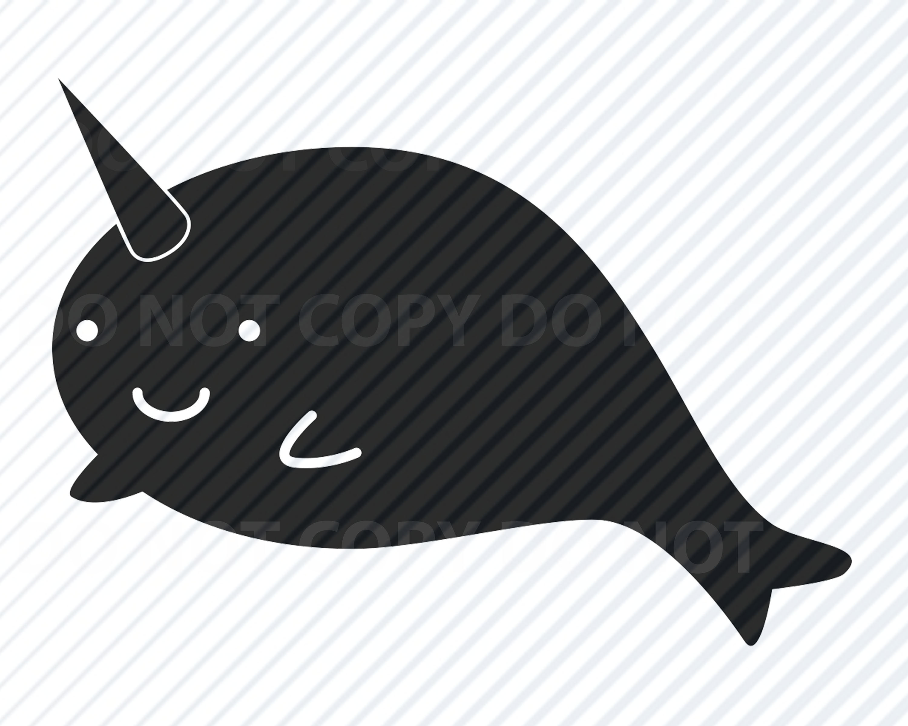 Fish svg files vector. Narwhal clipart swag