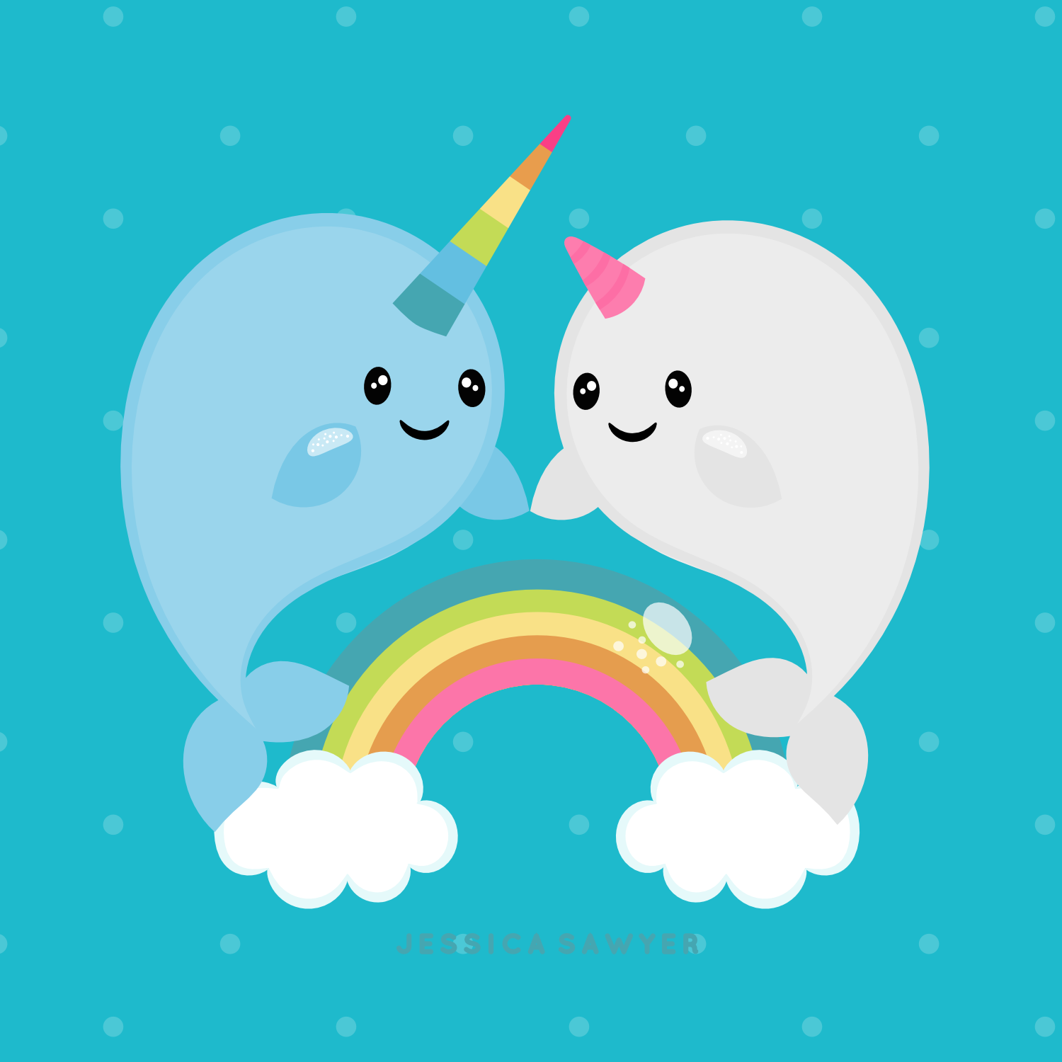 Narwhal clipart unicorn fish. Instant download and vectors