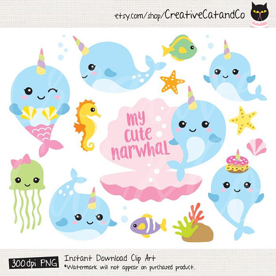 Clip art whale cute. Narwhal clipart unicorn fish