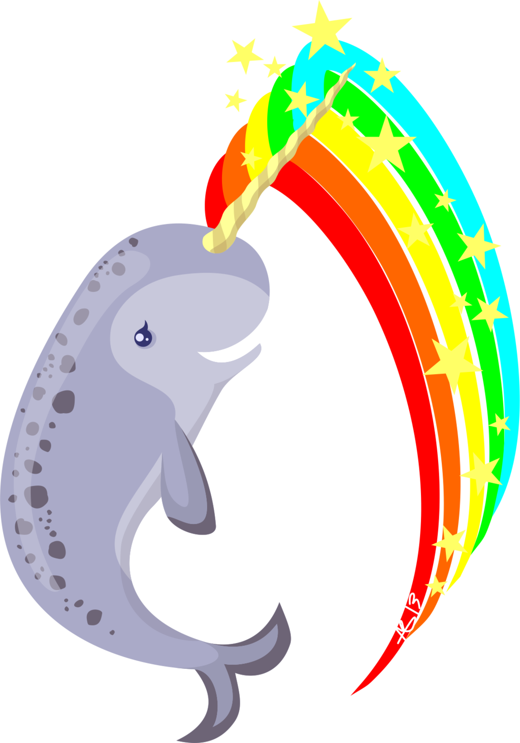 Narwhal clipart vector. Magical by amkili on