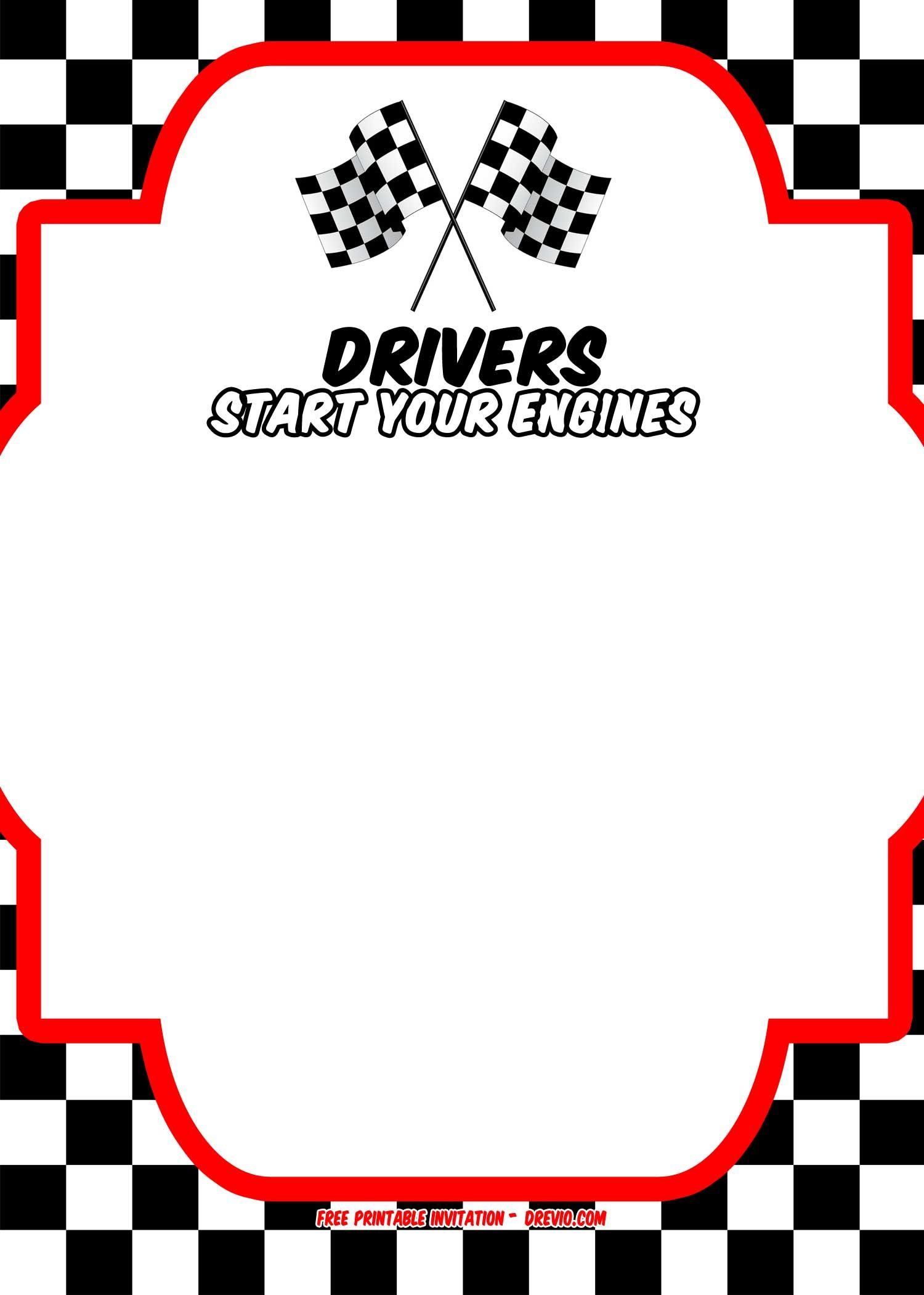 Free race car invitation. Nascar clipart birthday