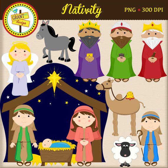 Christmas clip art cute. Nativity clipart character