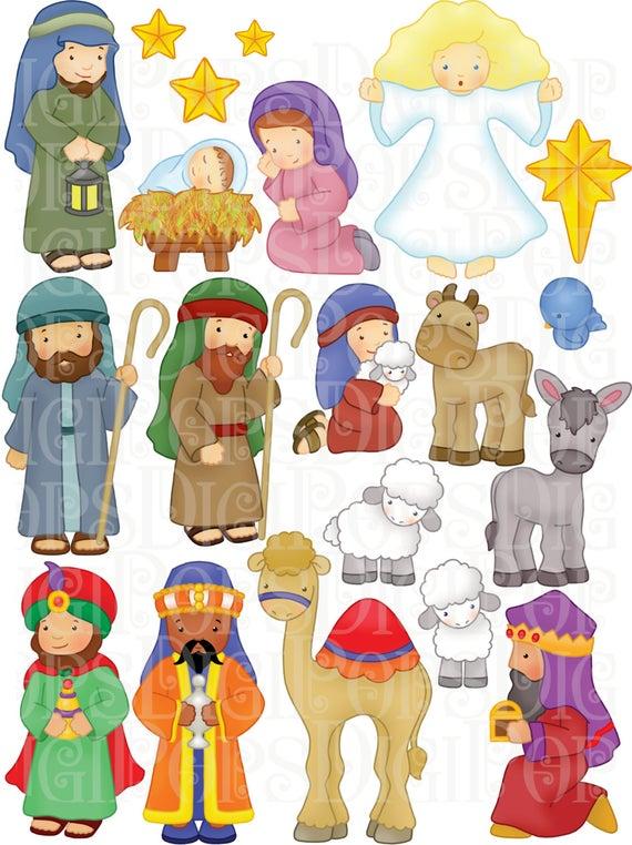 Nativity clipart character. Digital clip art set