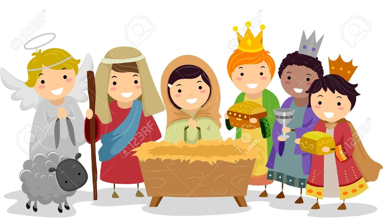 Children s scene . Nativity clipart children's