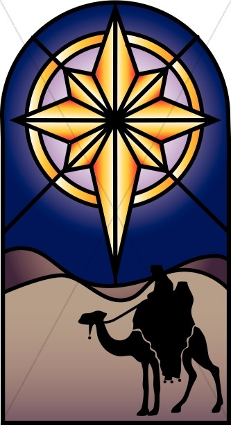 Nativity clipart epiphany. Stained glass star