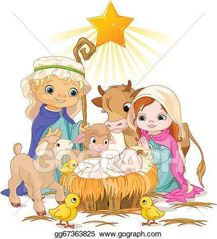 Nativity clipart holy family. Vector illustration gg