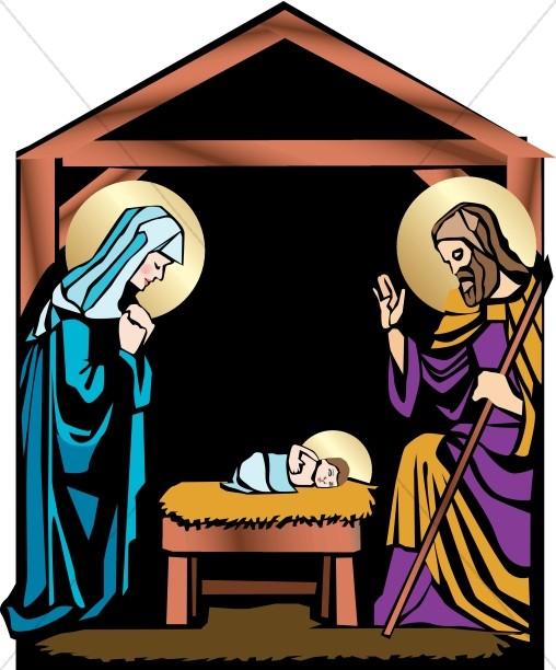 Nativity clipart joseph mary. With and jesus