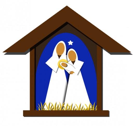 Free christmas clip art. Nativity clipart mantle