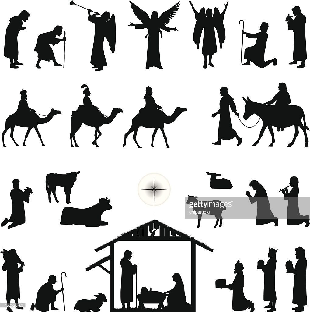 Nativity clipart outdoor. Scene silhouettes files included