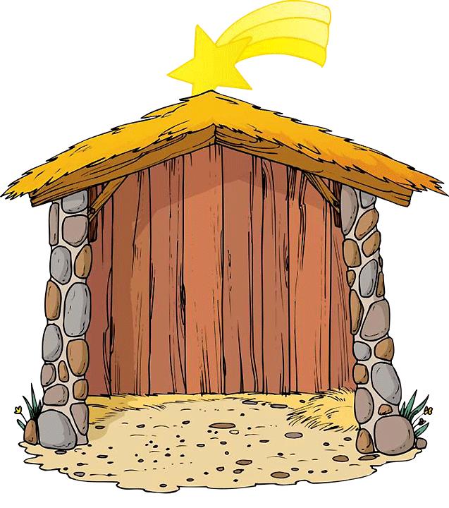 Flanelplaat jul i stalden. Nativity clipart outdoor