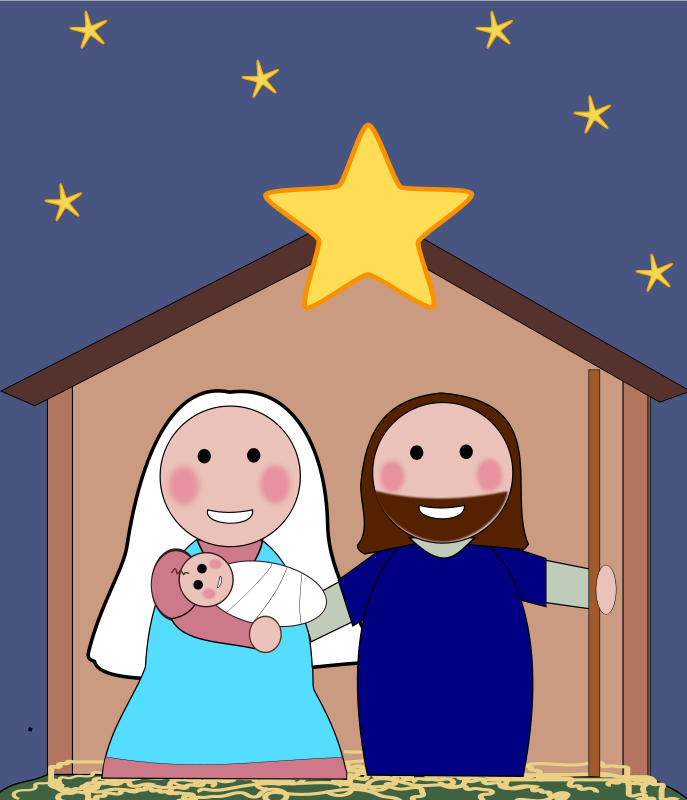 Free holiday graphics . Nativity clipart religious christmas card